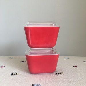 Bundle of 2 red vintage Pyrex refrigerator dishes